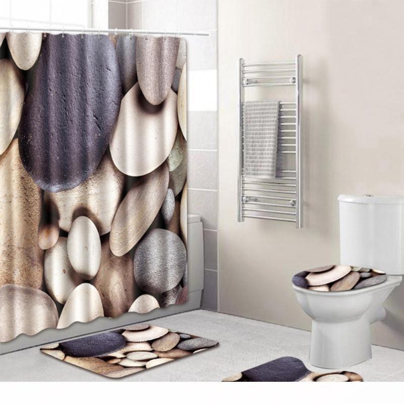 3//4pcs Beach Bathroom Polyester Shower Curtain Non Slip Toilet Cover Rug Mat