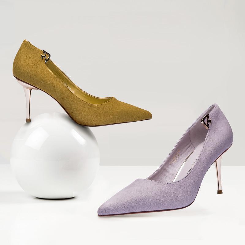Привлекательная2019 Обувь на высоком каблуке Sharp Fine с мелким ртом Женщина резиновая подошва Одиночный матовый металл 15165