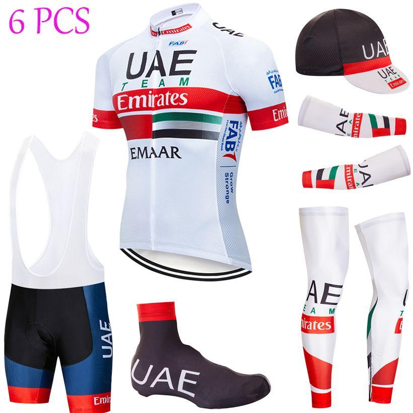 6PCS Full Set TEAM 2020 UAE Maglia ciclismo 20D pantaloncini bici Set Ropa Ciclismo estate secca rapido pro BICICLETTA Maillot inferiori di usura