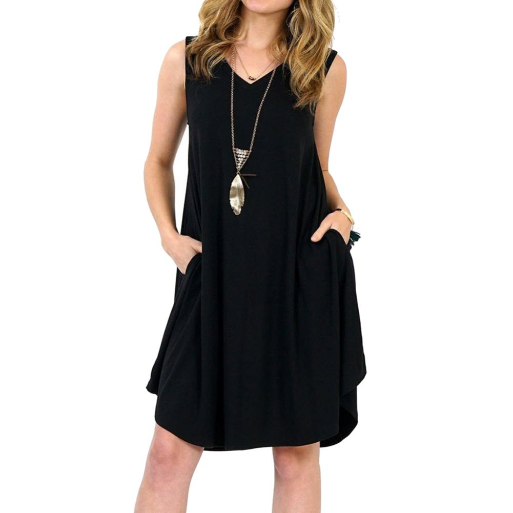 Solid Color Sleeveless Pockets V-neck Sundress Women's Summer Casual Loose Dress fashion plus size 6XL Free Shipping