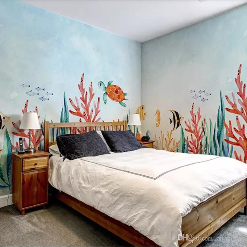 Happy Time Mural Children\'S Room Wallpaper Bedroom Background Wall Seamless  Whole Wallpaper Mural Wholesale Black Wallpaper Blue Wallpaper From ...