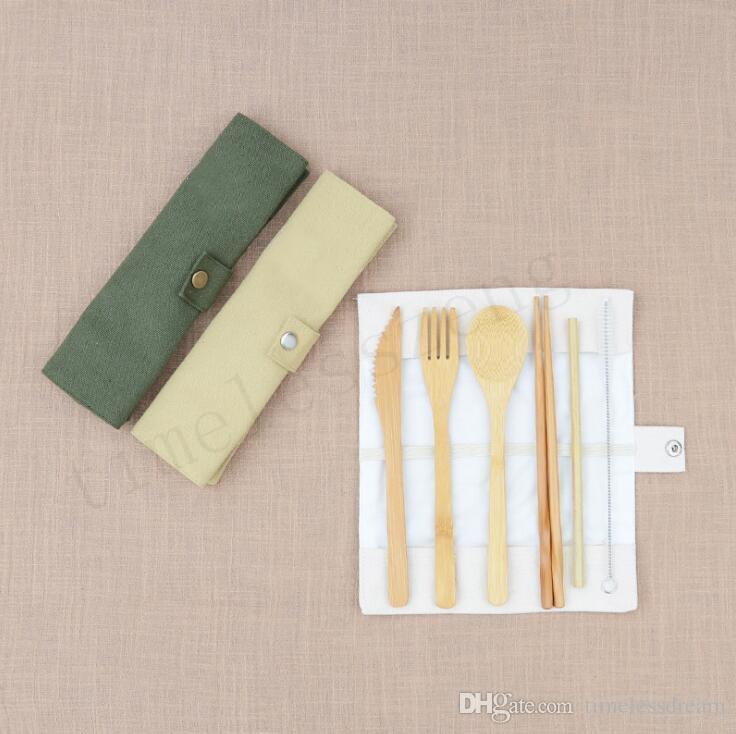 Conjuntos 7PCS / SET portátil cubiertos conjunto Recorrido al aire libre de bambú Juego de cubiertos cuchillo Palillos Tenedor Cuchara de mesa para el Estudiante Vajilla