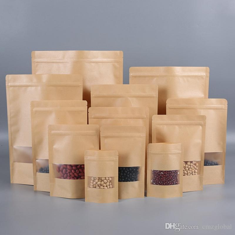 11Size Kraft Kağıt Torba Gıda Nem Bariyer Çanta Kilitleri Sızdırmazlık Kılıfı Gıda Ambalaj Çanta Kullanımlık Plastik Ön Şeffaf Çanta