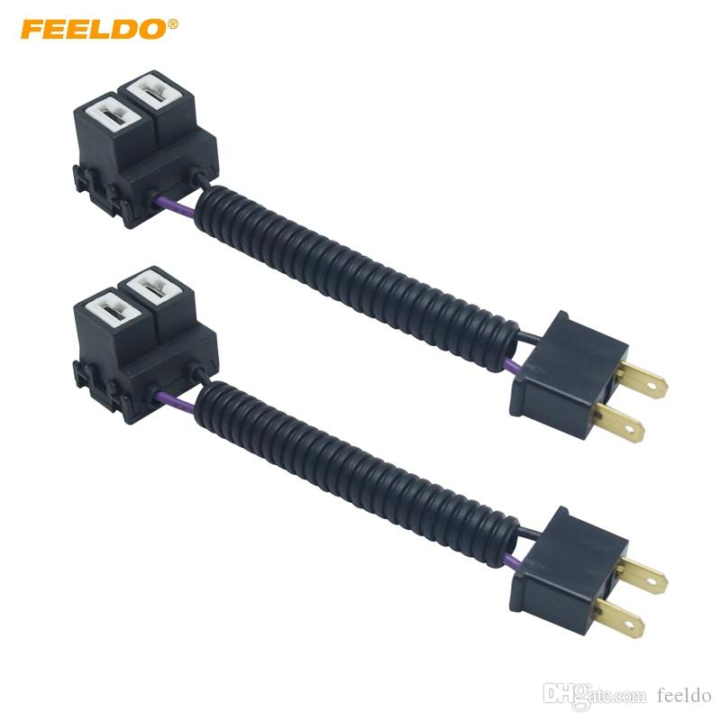 FEELDO 2PCS Car H7 Ceramic Socket Heavy Duty Ceramic Wiring Harness Connector For Headlight Bulb Socket Wire Plug Adapter #5948