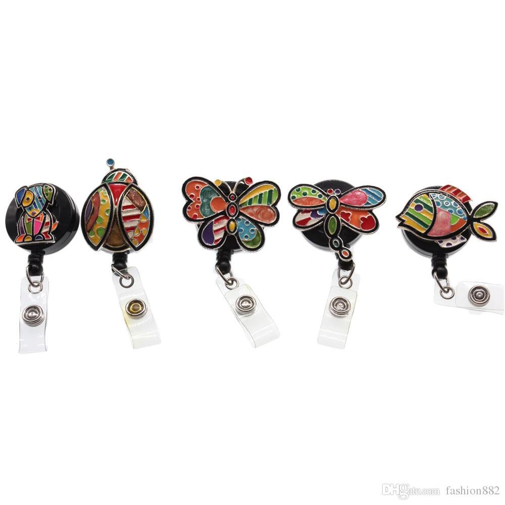 5pcs/lot New Arrival Animal Shape Retractable Badge Reel Enamel Fish Dragonfly Dog Ladybug Badge Reel Nurse ID Badge Reel