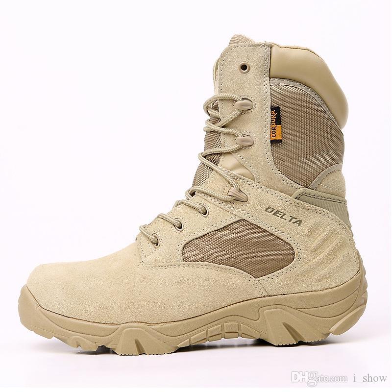 رجل جزمة الصحراء أفضل نوعية في الهواء الطلق الأحذية القتالية التكتيكية أحذية أحذية الرمل الأسود سلامة العمل التمهيد الشتاء الخريف سلامة العمل Eur39-45
