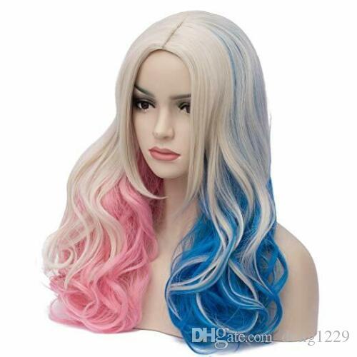 Бесплатная доставка Новых волокна синтетического Heatproof Multi-Cosplay Парик розовый синий градиент волосы