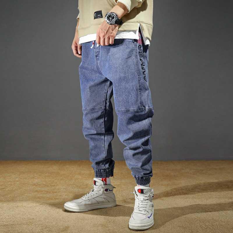 Мужские джинсы Плюс Размер Эластичный Сыпучие Конический Гарем джинсы хлопок дышащий Denim Багги Jogger вскользь брюки 42