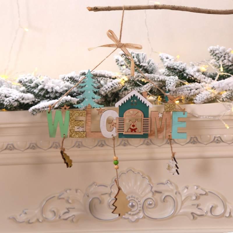 Campanas de viento de madera de Navidad Lista de cuerdas Cartel de bienvenida Decoraciones de año nuevo colgantes Cartel de bienvenida Adornos navideños