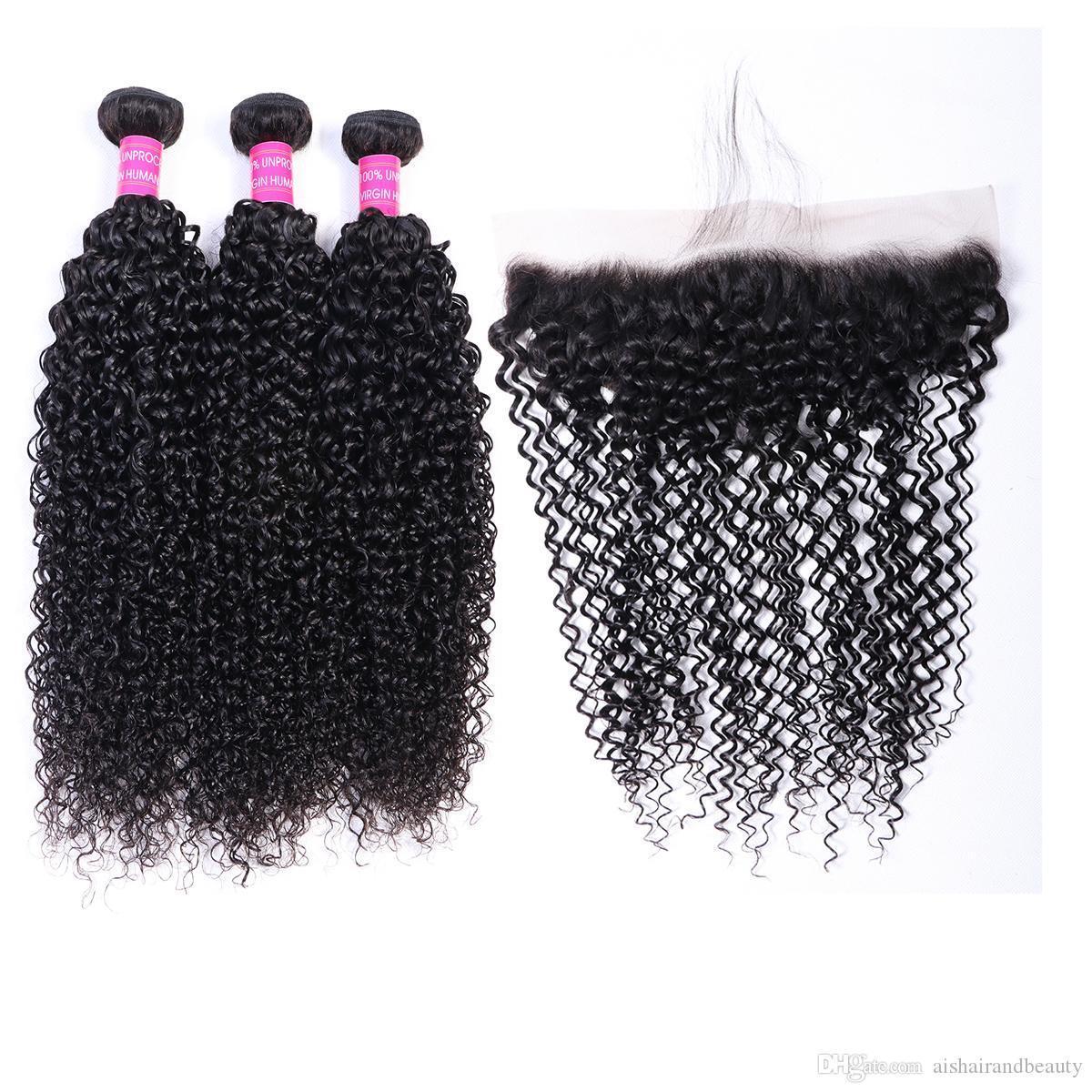 AIS capelli brasiliani vergini umani tesse le estensioni dei capelli ricci Natual 1B colori 3 pacchi con merletto Frontal 13 * 4 Lordo di alta qualità