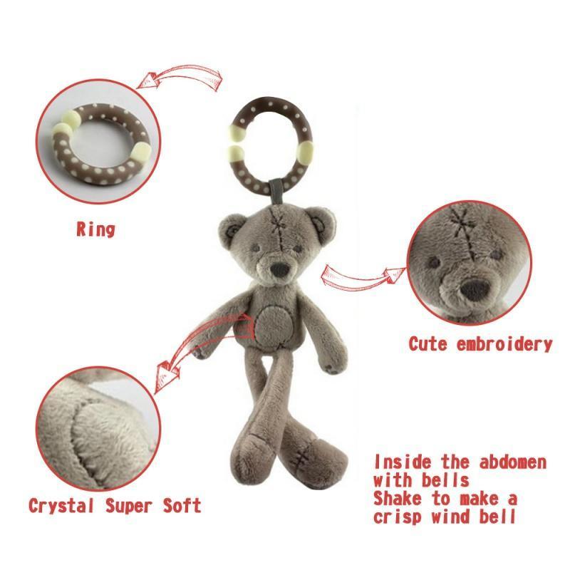 Baby Soft-hängendes Geklapper Crinkle quietschende Spielzeug-Baby-Spielzeug für Plüsch Tier Ringing Spaziergänger Säuglingsauto-Bett-Krippe Reiseaktivität