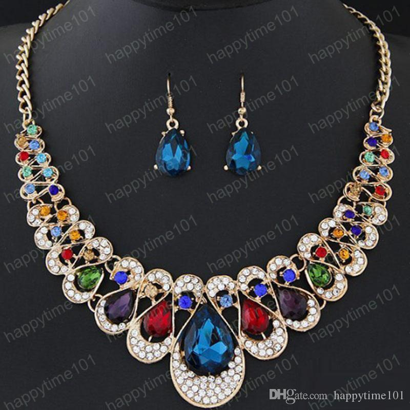 2019 Crystal Water Drop Statement Necklace Earrings Jewelry Set