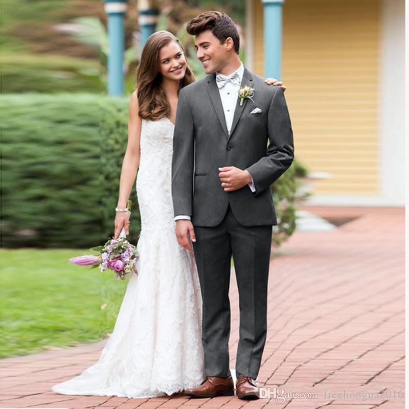 Özel Gri Erkekler Için Yaka Erkek Düğün Takımları Suits Blazer Moda Damat Custom Made Slim Fit Örgün Smokin Best Man Balo 2 Adet