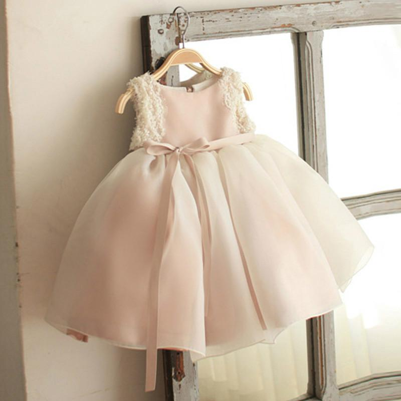 New Flower Girls Dresses Kids Sleeveless Lace Tulle Princess Dresses Father Daughter Ball Gown Girls Princess Dress