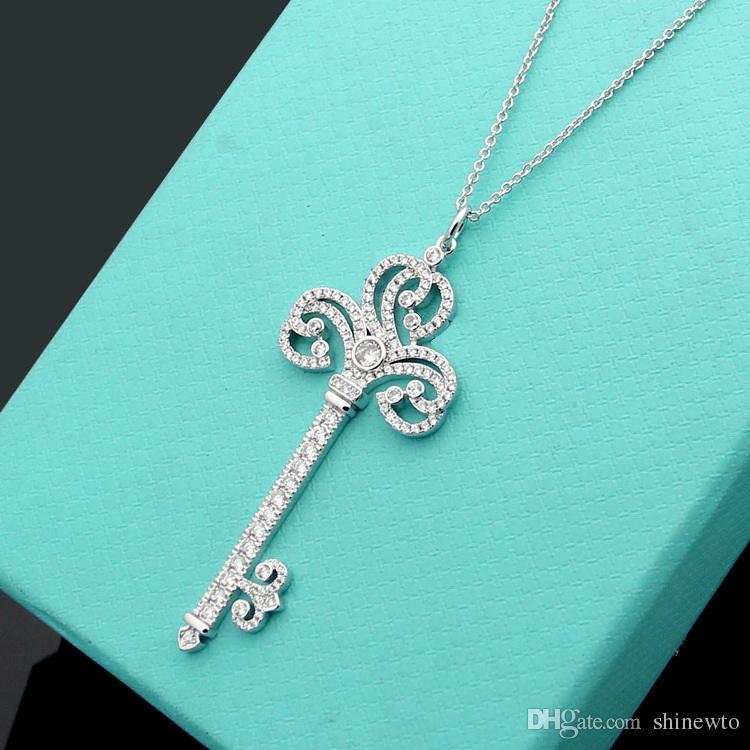 جديد وصول أزياء سيدة النحاس 18K قلادة من الذهب مطلي طويل مع كامل البلوز سلسلة قلادة قلادة الماس
