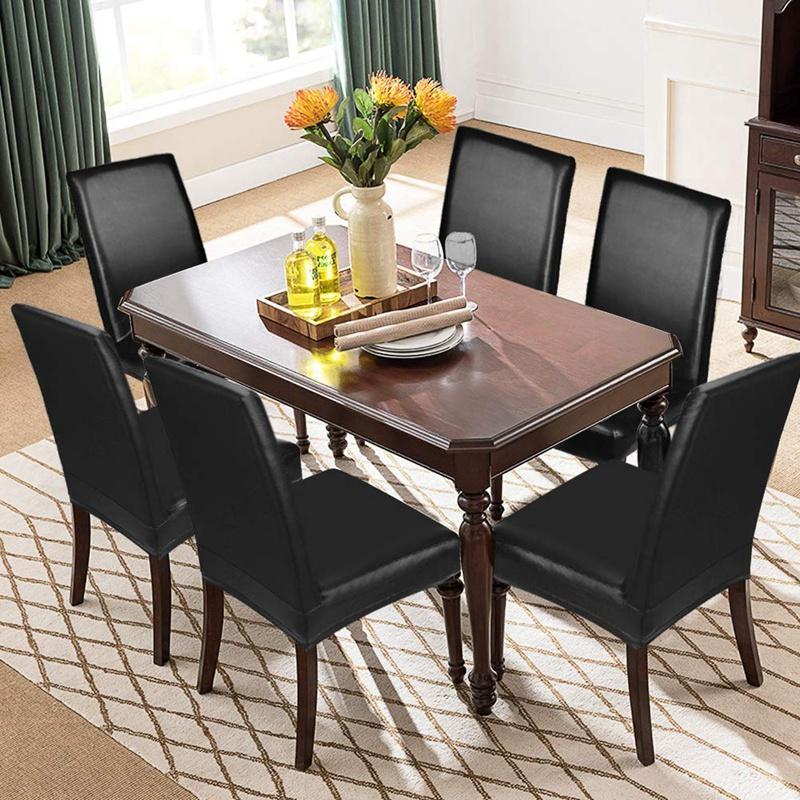 Comer fundas para sillas, Solid cuero de la PU impermeable y resistente al aceite estiramiento Silla de comedor cubierta Funda para casa decorativa