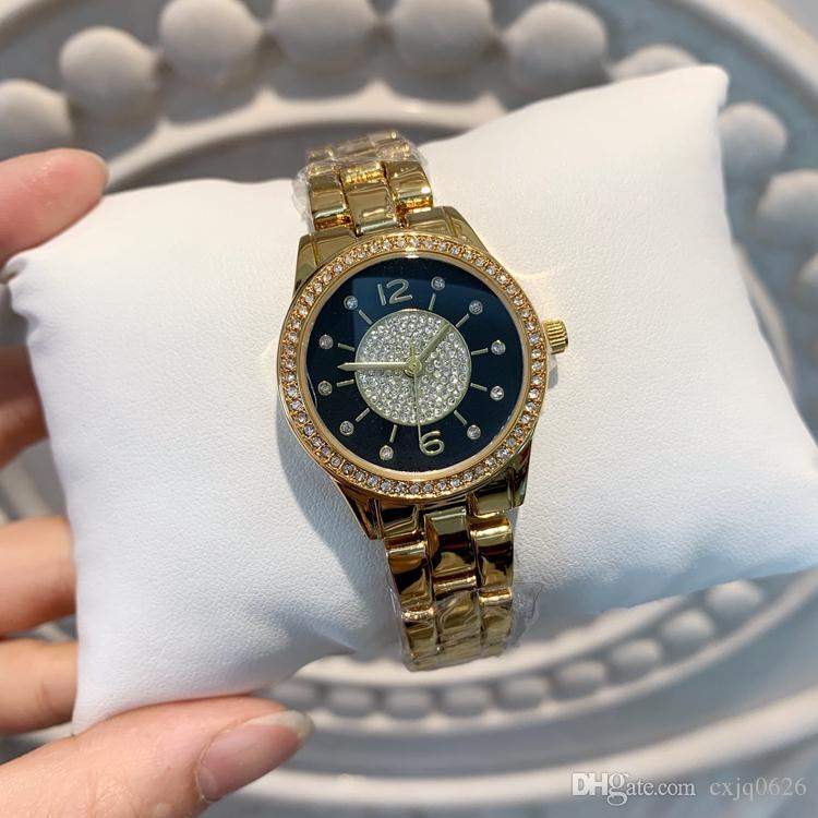 2019 Relojes 드 마르카 Mujer 황금 시계 여성 다이아몬드 팔찌 시계 일본 운동 패션 드레스 손목 시계 명품 시계 고품질
