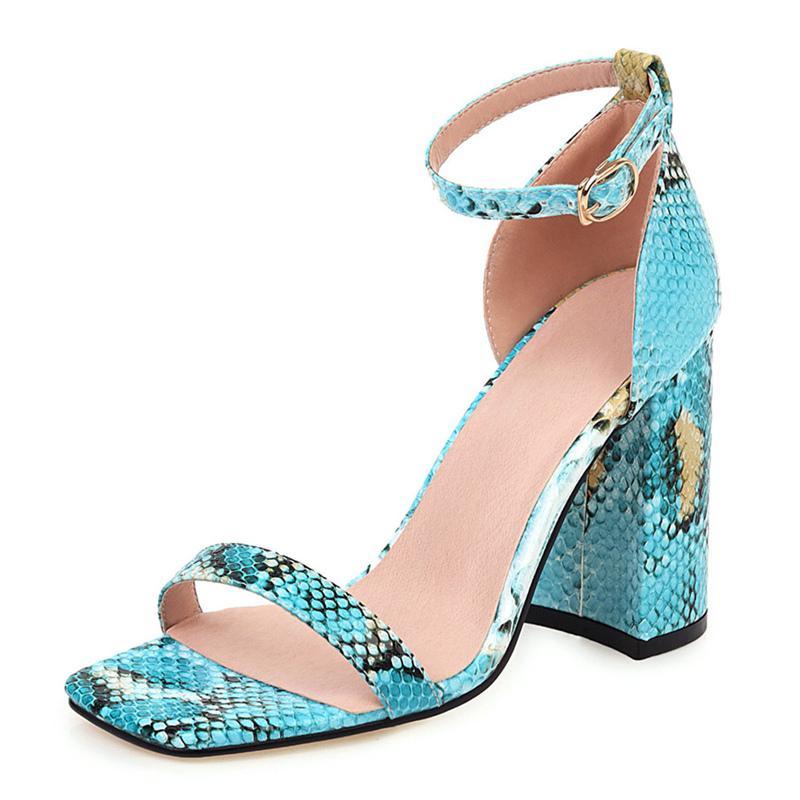 Sandalias de serpientes de serpientes de la manera de las sandalias zapatos de verano de las mujeres bloques elegante tacones altos tacones clásicos de las mujeres de las mujeres de la fiesta de gran tamaño