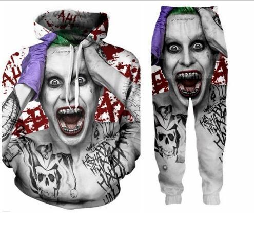 Nuevos Hombres / Womens Suicide squad Joker Funny 3D Print Moda Chándales Cuello Redondo Hip Hop Sudadera y Pantalones 2 Unids Juego Sudaderas