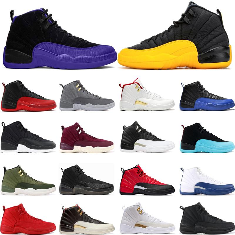 Mens Basketball Shoes 12 12s University Gold Dark Concord REVERSE FLU GAME playoff Wolf Grey Gym red FIBA outdoor sports sneakers size 7-13