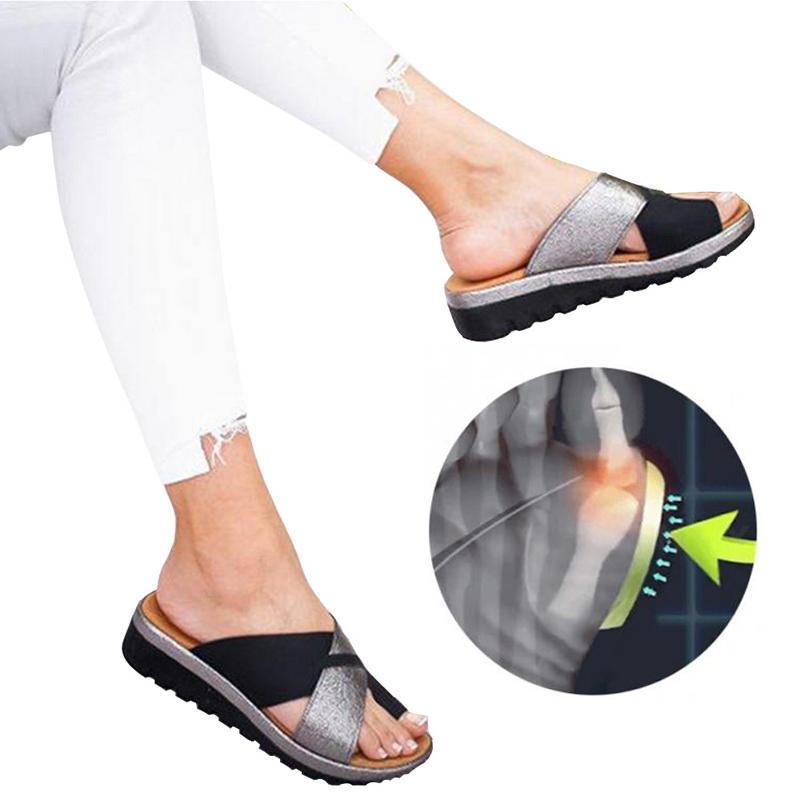 vertvie mujeres deslizadores de los zapatos de Ortopedia del juanete Corrector Plataforma cómoda casual de las señoras dedo gordo del pie Corrección de la sandalia
