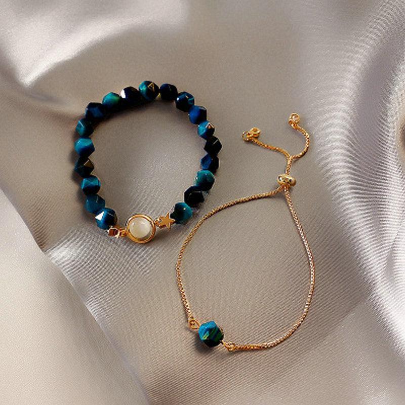 Nehir 2PCS Kadınlar Metal Bilezik Doğal Taş Kaplan Gözü Kadın Ayarlanabilir Bilezikler Trendy Mücevher ayarlar