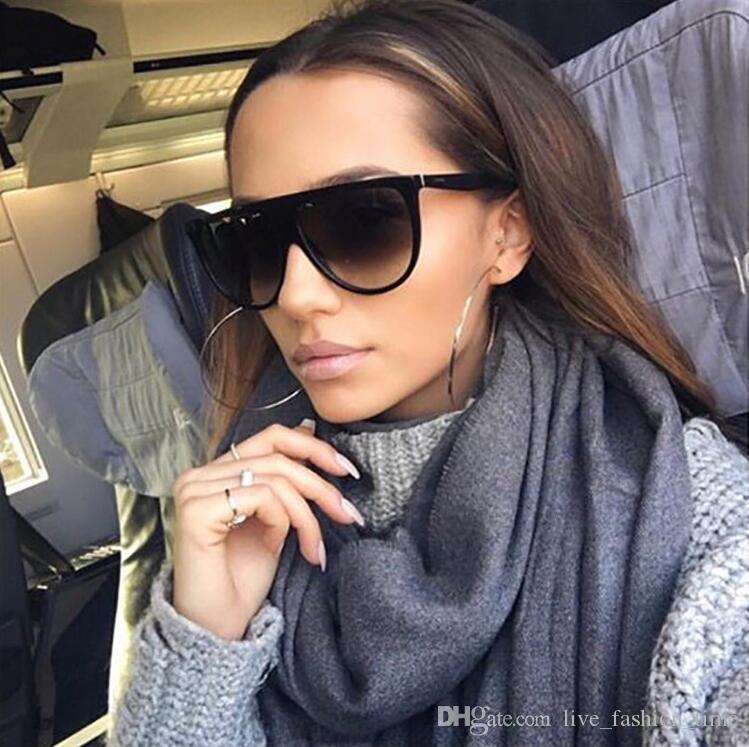 2019 ретро очки женщин площади Крупногабаритные Flat Top Градиент Солнцезащитные очки Марка Дизайнер UV400 Shield Black Vintage Lunette De Soleil Femme