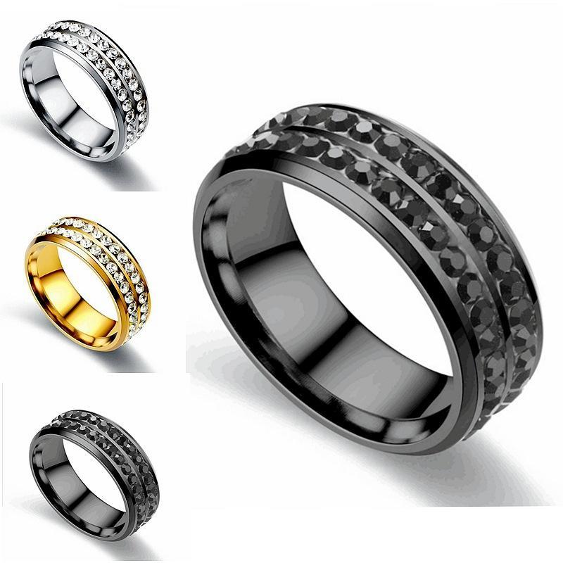 Todos los pares del anillo al por mayor del acero inoxidable del diamante de acero de titanio de acero Titanium de la manera de dos hileras de anillo de diamante