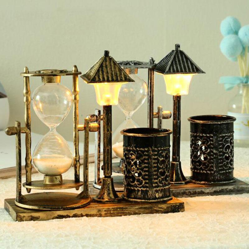 Creative Antique Quicksand Lamp Street Tholder Terrasse Cadeau Blanc Sablier Couleur Changement de nuit Ornement de nuit