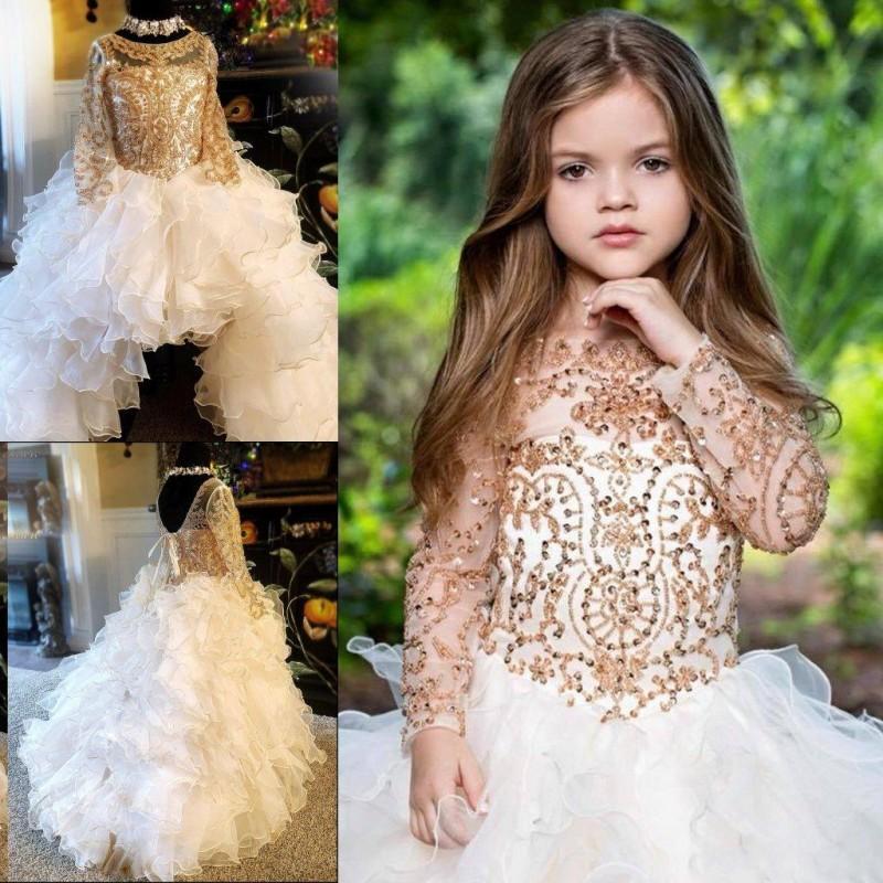 Длина девушка Pageant платье Jewel шея длинного рукав бисер лук Узелок тюль цветок девочка платье пола Дети партия мантии
