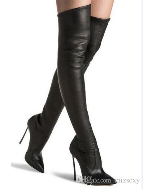 2018 새로운 핫 패션 부츠 지적 발가락 금 스파이크 하이힐 겨울 여성 부츠 지퍼 나이트 허벅지 높은 부츠 신발 여성 큰 크기