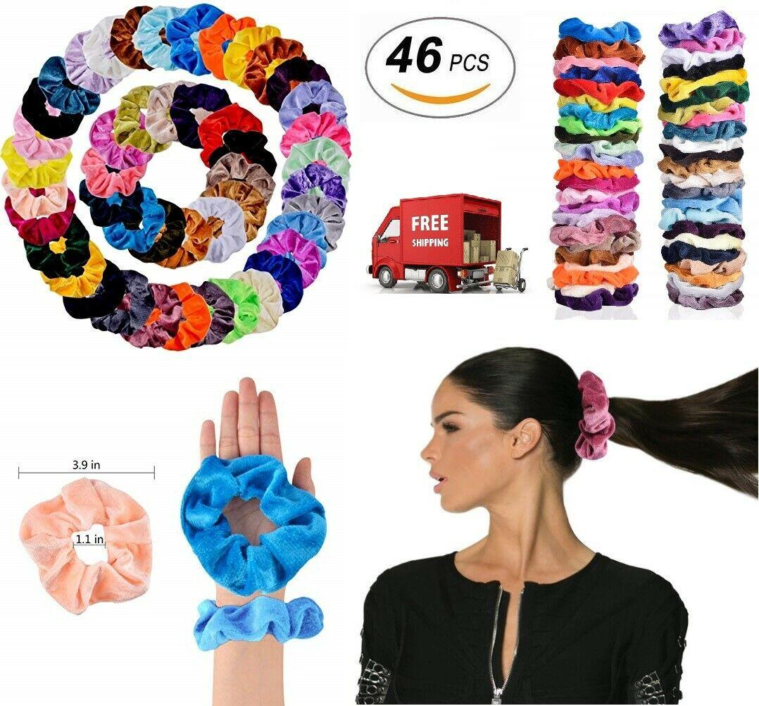 Hair Scrunchies Velvet Elastics Hair Ties Scrunchy Bands Ties Ropes Gifts 46 Pcs