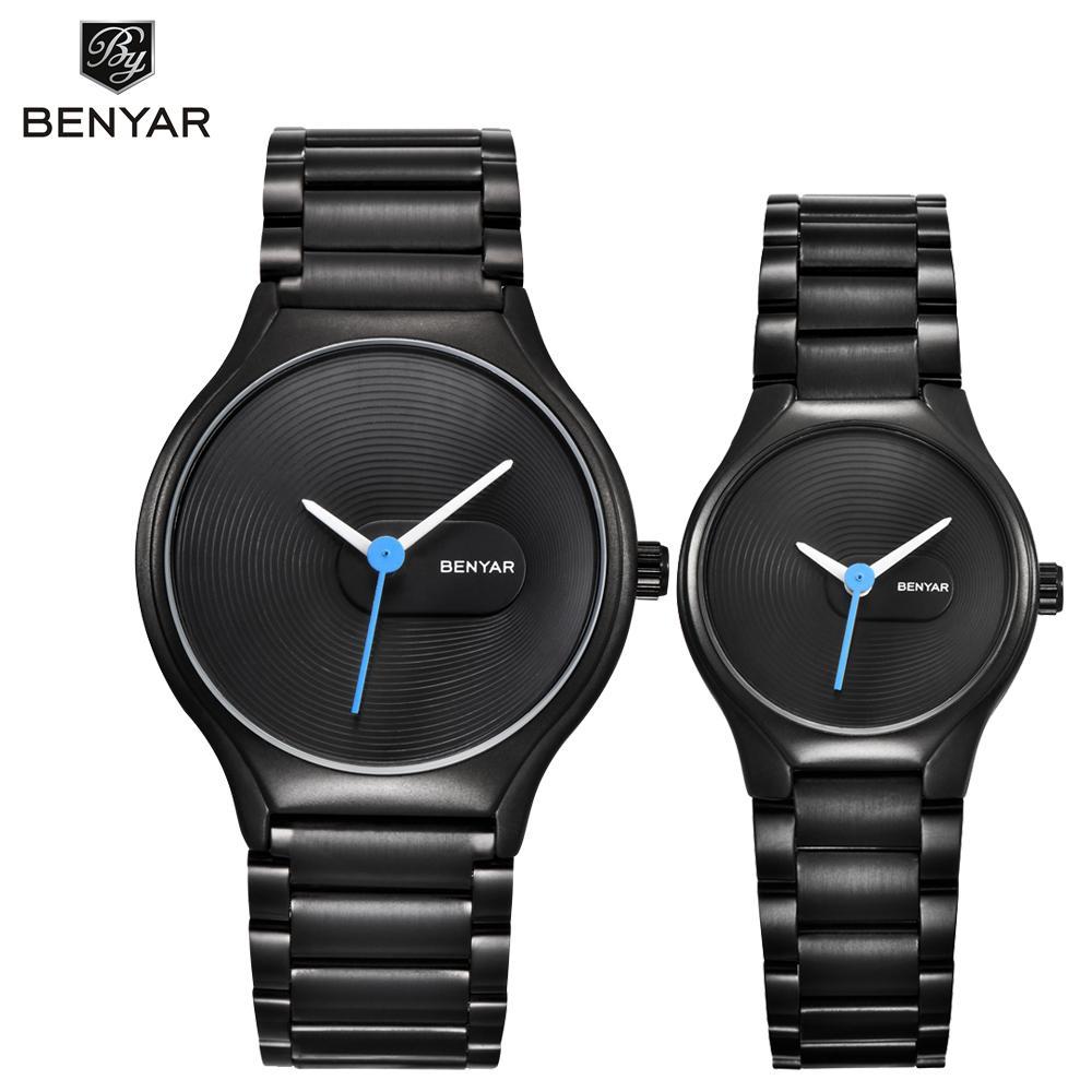 подарки BENYAR влюбленных Часы Set Brand Престижное Кварцевые часы Мода Повседневная водонепроницаемый 30M Платье Часы Рождество Валентина