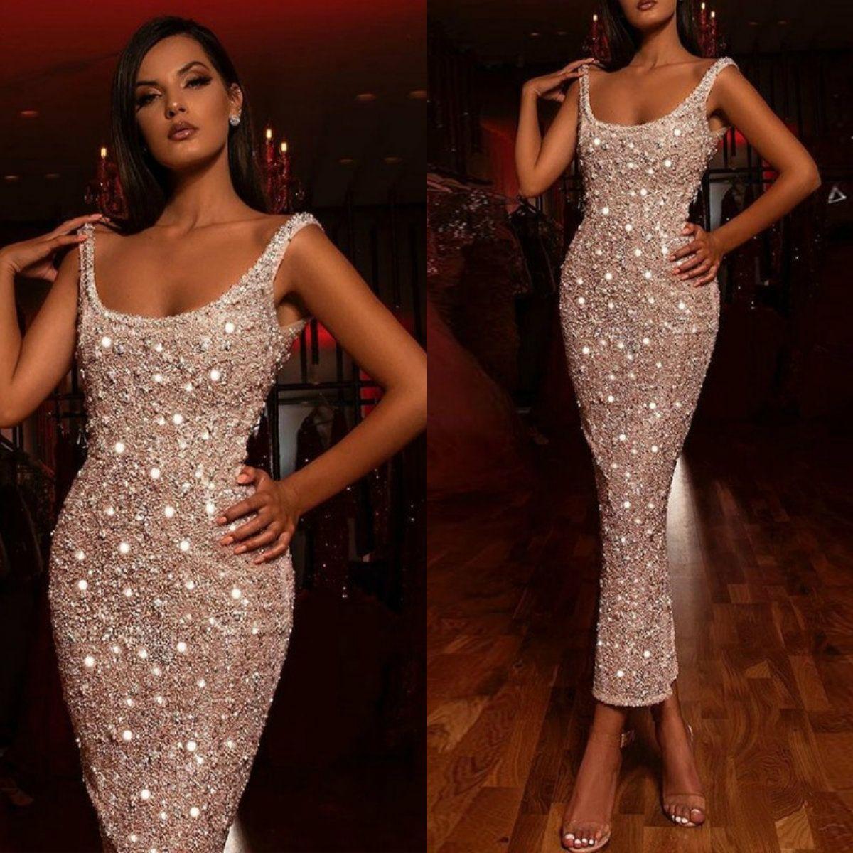Сексуальные Bling Bling Cocktail платья Scoop шеи лодыжка длина бисера оболочки леди вечернее платье блестки специальные платья