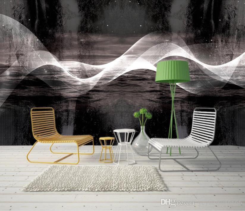2020 3D papel de parede preto linha nórdico minimalista televisão fundo abstrato wallwallpaper para paredes 3 d sala de estar quarto