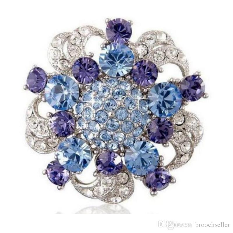 Vintage Style Rhodium Silver Blue and Tanzanite Crystal Flower Brooch Wedding Party Gift Pins Free Shipping