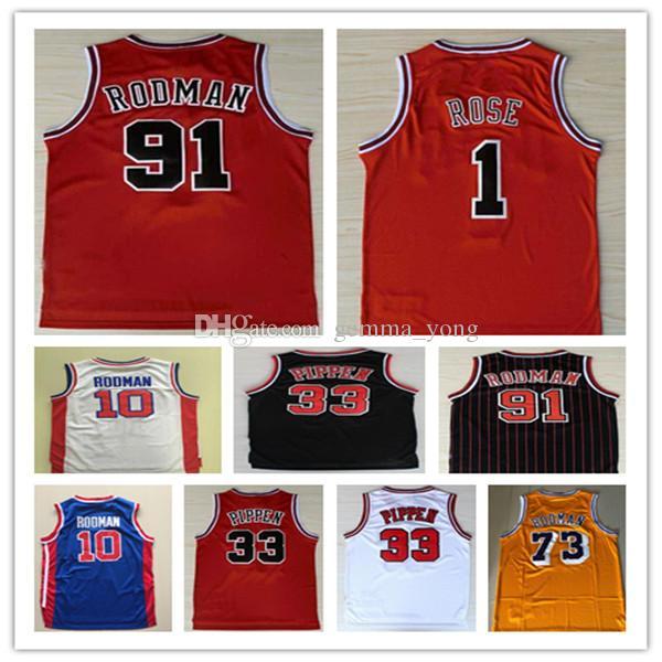 Vendimia barata del baloncesto jerseys Rojo # 1 Derrick Rose Negro El Gusano # 91 Dennis Rodman blanca # 33 Scottie Pippen Maglie da cesta de cosido