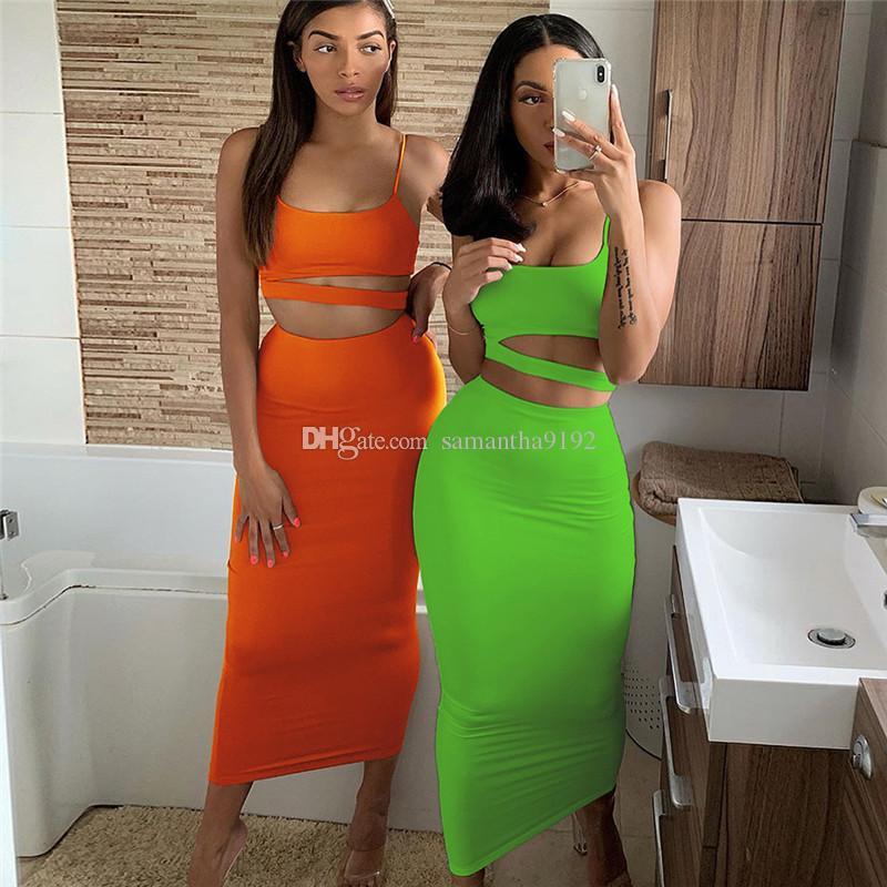 Kadınlar Katı Renk Straplez Hollow Out Crop Top Yüksek Bel Elastik Skinny Uzun Etekler İki adet Seti Kadın Moda Kıyafet 2019