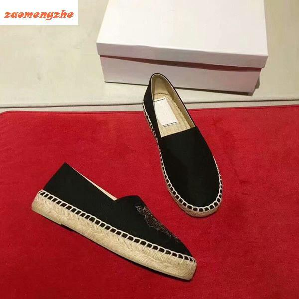 New salelovers shoes with Tiger Head Single Shoes and Lazy Embroidered straw shoes