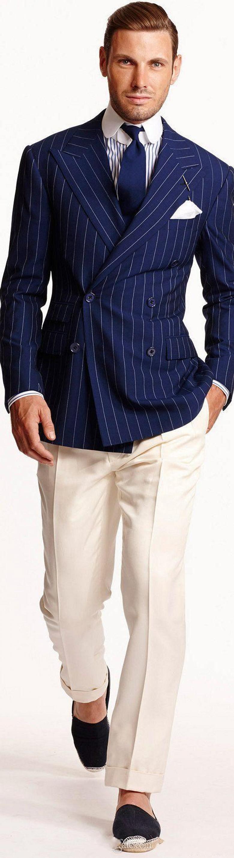Neue populäre zweireihige blauer Streifen Hochzeit Männer Anzüge Spitze Revers Zwei Stücke Business-Bräutigam-Smoking (Jacket + Pants + Tie) W1238