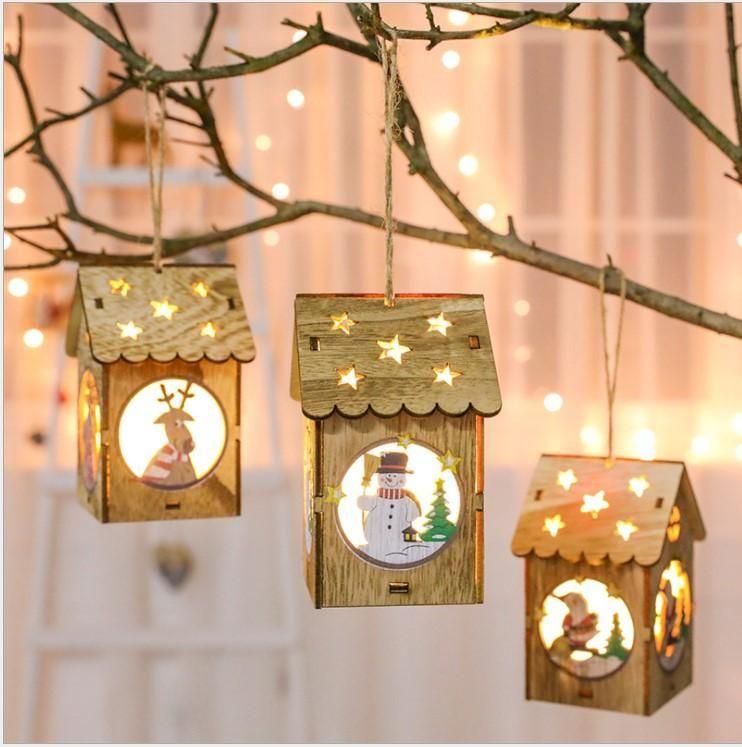 Christmas LED Light Wood HOUSE Cute Tree Hanging Ornaments Holiday Decor~PA
