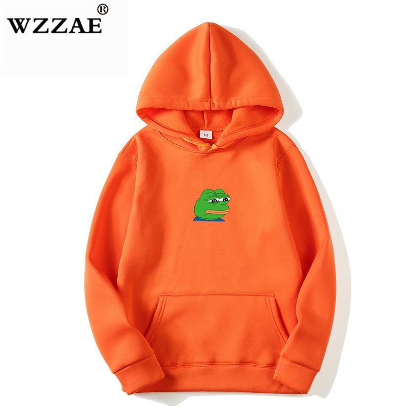 2018 Men/women Sad Frog Print Sportswear Hoodies Male Hip Hop Fleece Long Sleeve Hoodie Slim Fit Sweatshirt Hoodies For Men MX190803