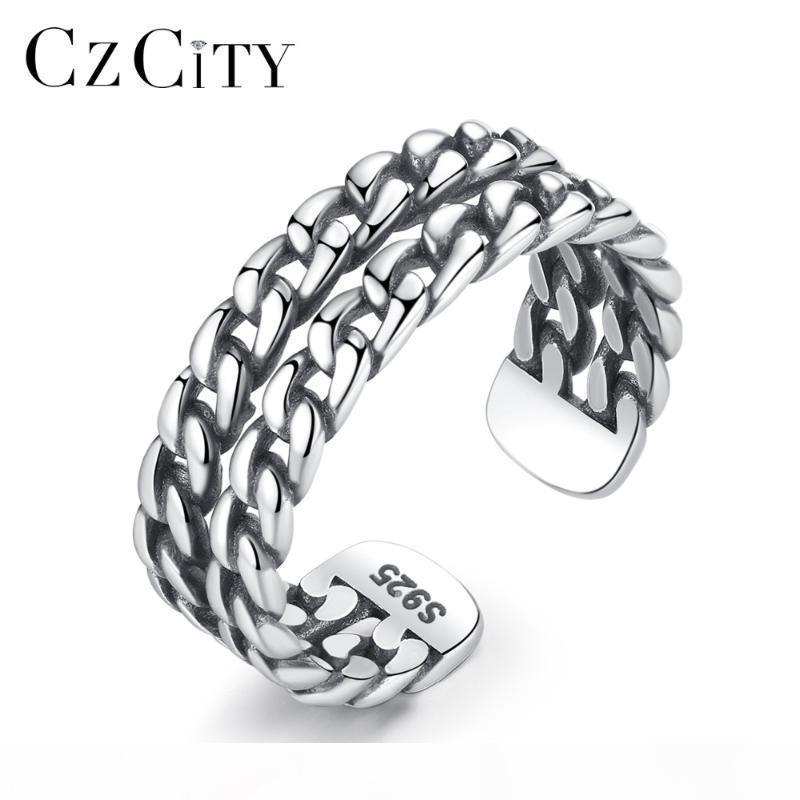 CZCITY authentiques 925 argent sterling ouvert Anneaux pour les femmes double chaîne creuse vintage anneau réglable cadeau Fine Jewellery