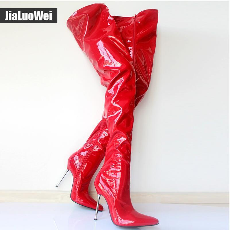 Woman s Autumn Thigh High Boots Sexy High Heeled Patent Leather Zipper Over The Knee Pointed Toe Boot Man Red Cosplay Dance Dress shoes