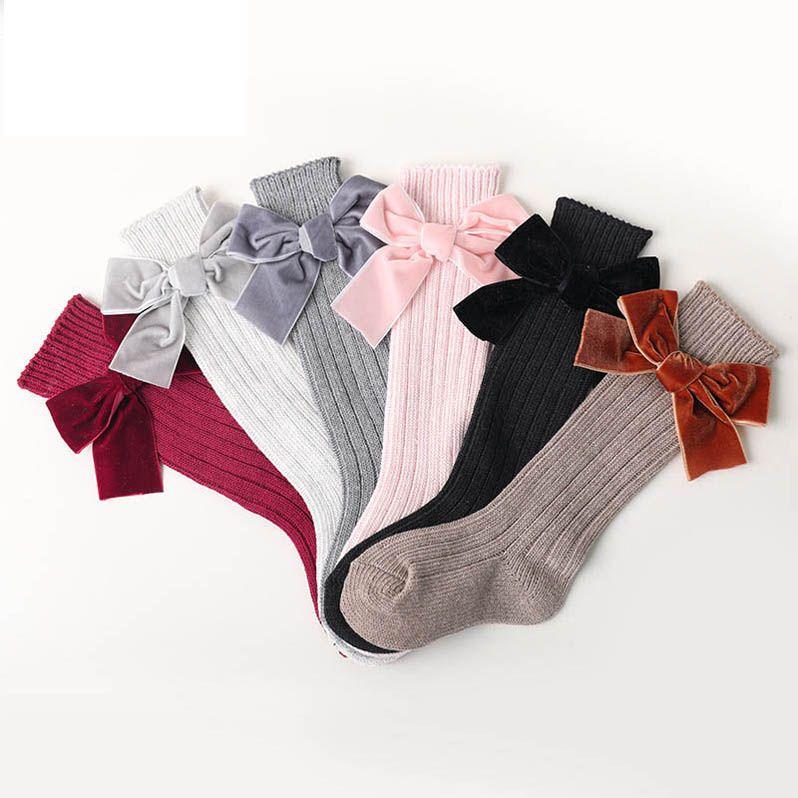 Мода Луки девушки носки хлопок принцесса девушки дизайнерские чулки Детские носки девушки вязать колено высокие носки дети носок малыш чулки B363
