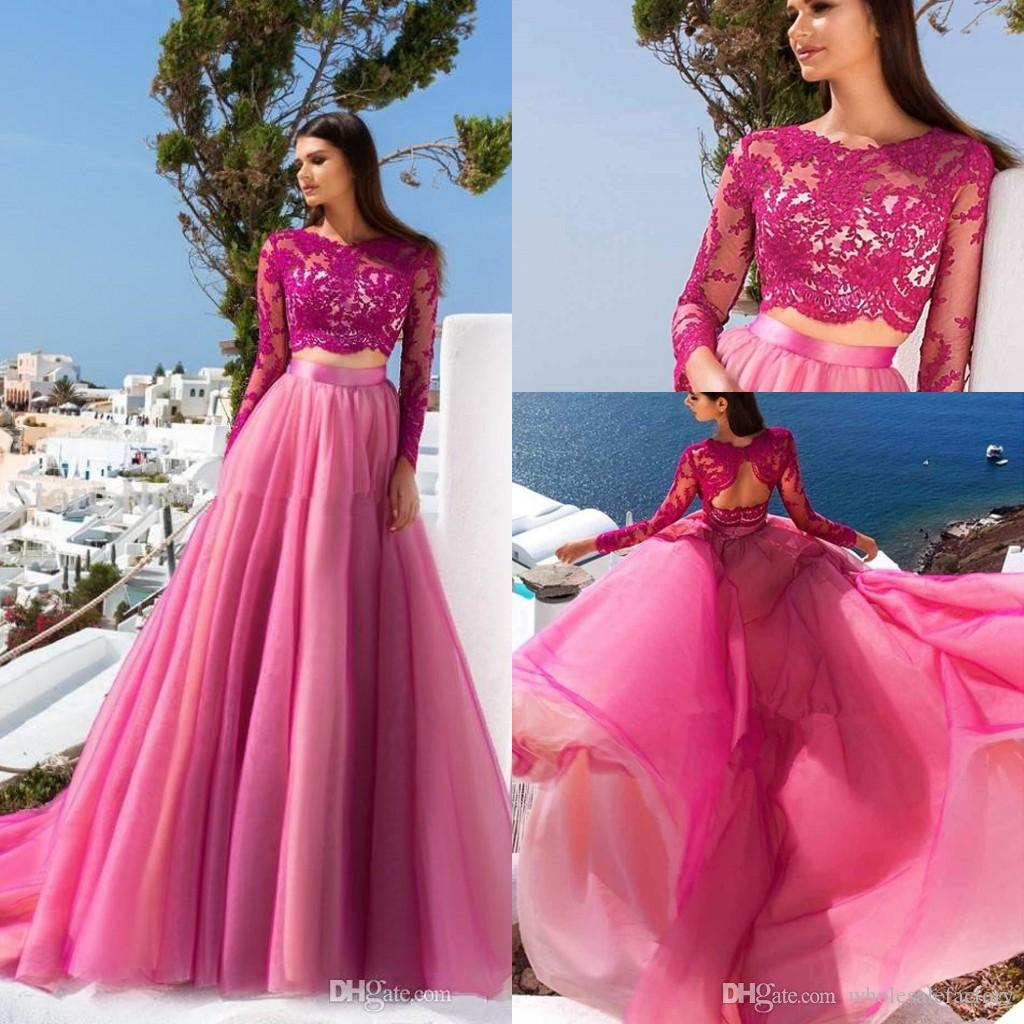 Hot Pink Two Pieces Lace A Line Prom Dresses 2020 Long Sleeves Tulle High Split Hollow Back Sweep Train Formal Party Evening Dresses