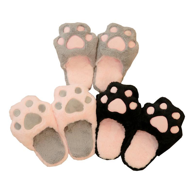 Invierno Mujer Inicio Zapatillas Gato de la historieta zapatos antideslizantes suave invierno caliente de la casa zapatillas zapatos cubierta de los amantes de las parejas de suelo