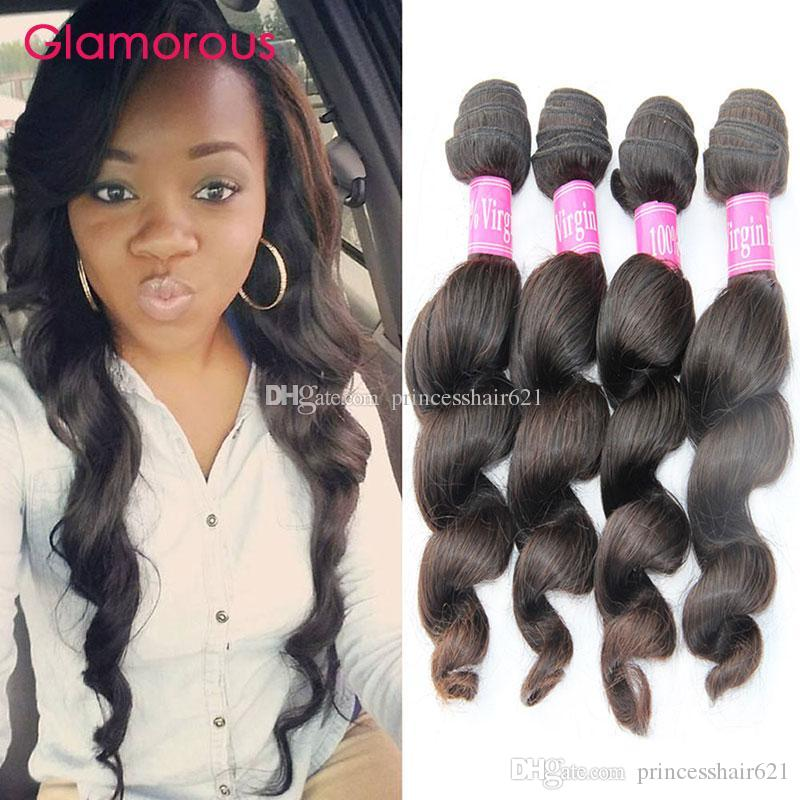 Glamorös rå indisk jungfrulig hår 4 buntar lös våg peruanska malaysiska vågiga hårförlängningar Billiga brasilianska hårbuntar för svarta kvinnor