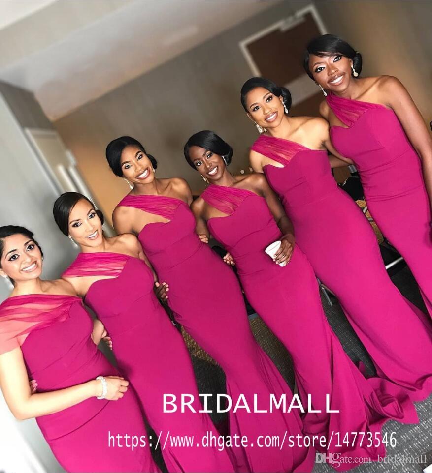 섹시한 자홍색 하나의 어깨에 인어 들러리 드레스 2020 년 아프리카 시스 웨딩 드레스가 긴 공식 파티 드레스녀의 명예를 드레스