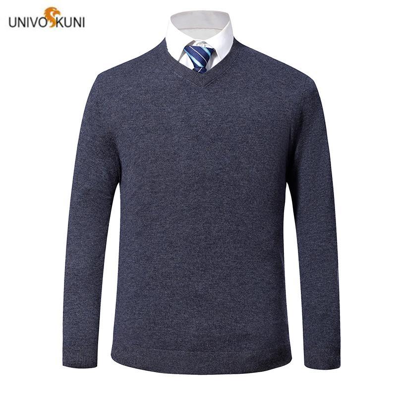 UNIVOS KUNI 2019 pour Homme Pull overs récent printemps et mince de mode automne hommes solides occasionnels chandail 1931